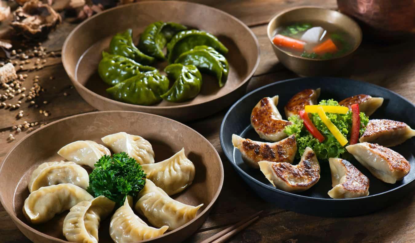 Delicious dumplings on a table