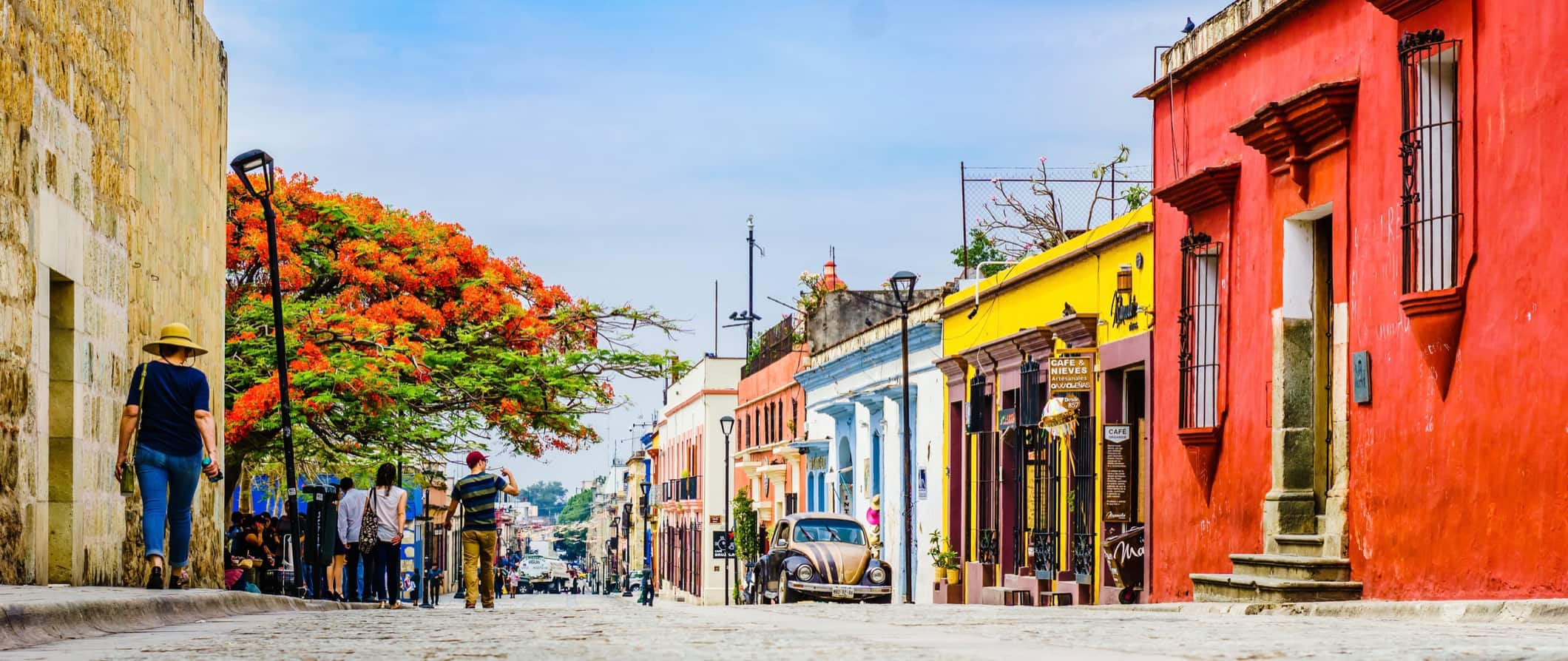 The colorful historic downtown of Oaxaca, Mexico