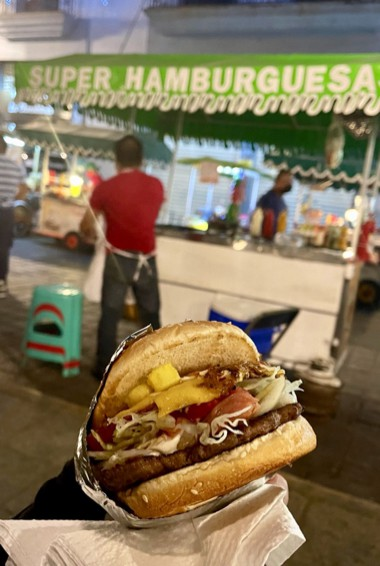A tasty local hamburger in Oaxaca, Mexico