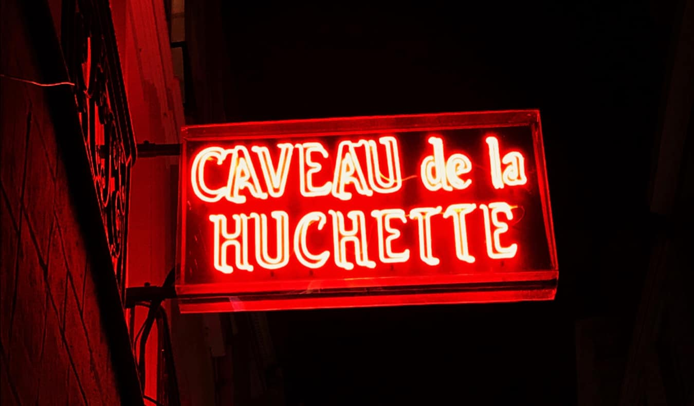 The sign outside of a jazz bar in Paris, France