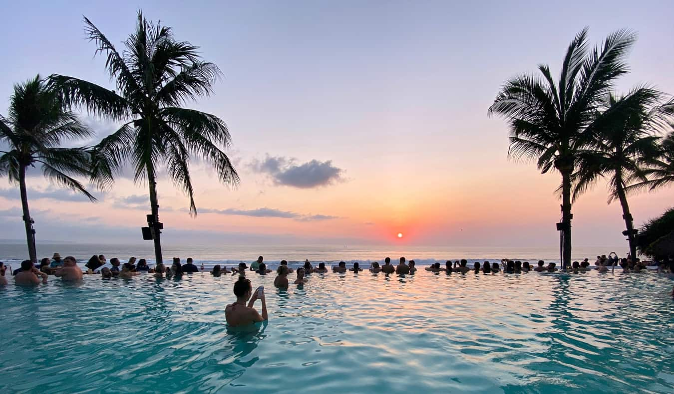 People partying in a pool in Bali