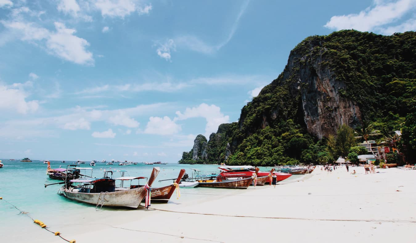 Lots of tourist boats at koh phi phi in Thailand