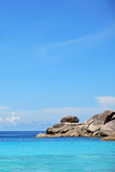 The clear waters of the Similian Islands in Thailand