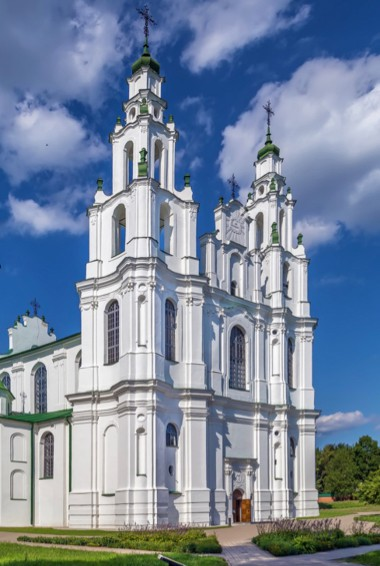 A towering white cathedral in Polotsk, Belarus