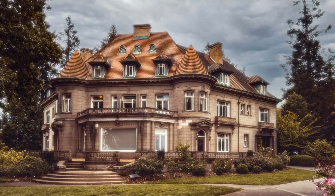 The stately Pittock Mansion in Portland, Oregon on a summer day