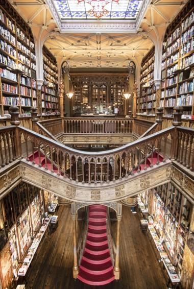 The interior of the Livaria Lello library in Porto, Portugal