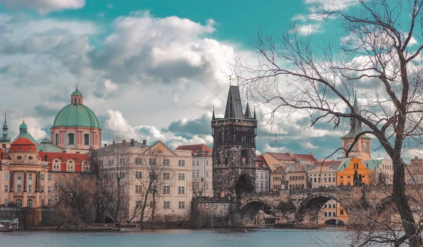 A busy bridge in the historic Old Town of Prague, Czechia