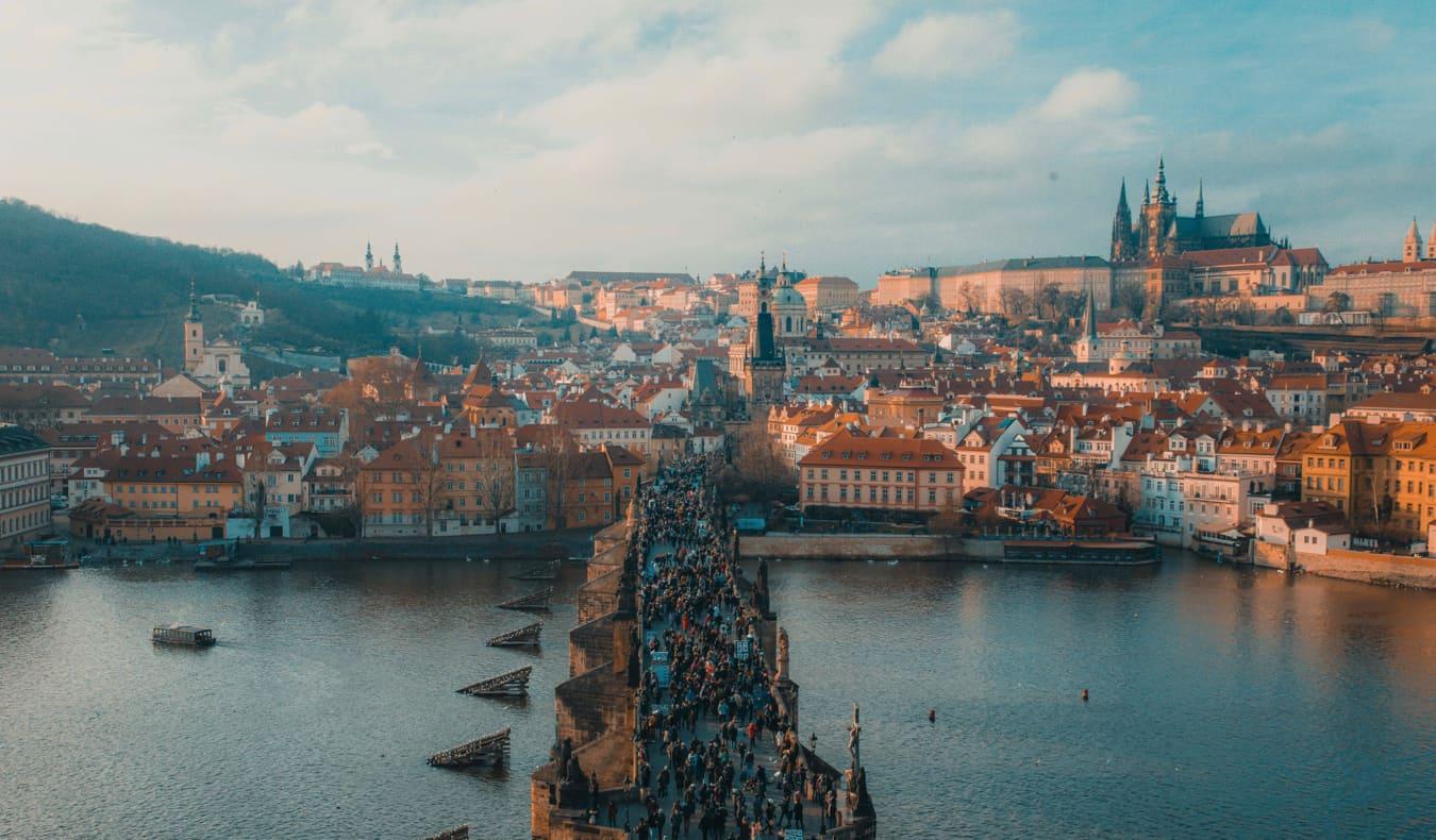 Tourists crowding a bridge in Prague, Czechia