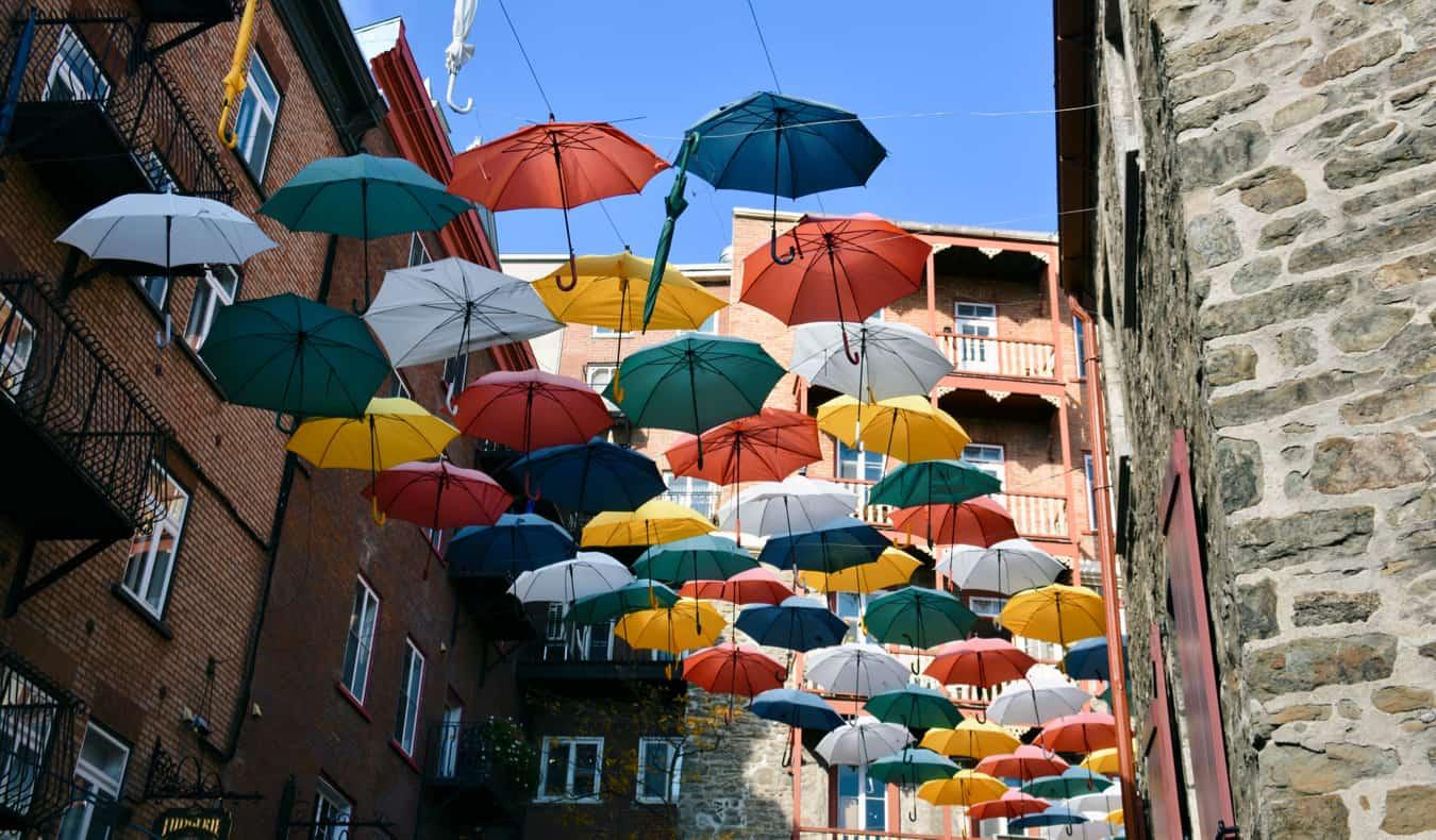 Colorful umbrellas in a narrow alley in Quebec City, Cqnada