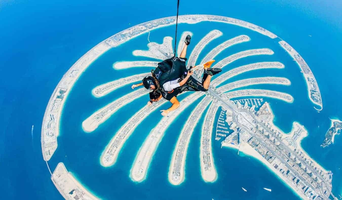 Rax, a solo digital nomad, skydiving in Dubai