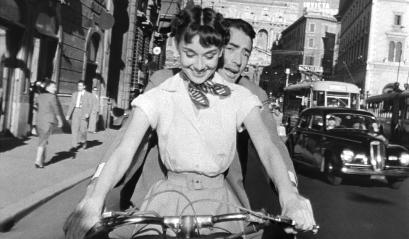 A black and white scene from the film Roman Holiday