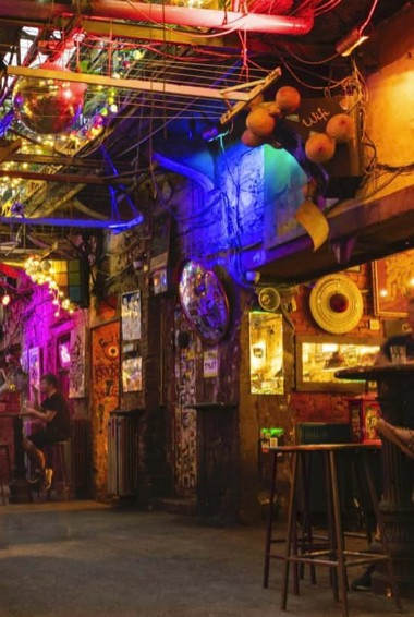 People partying in one of Budapest's many Ruin pubs