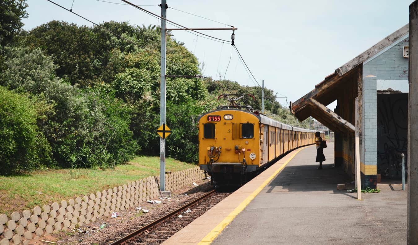 A train leaving the station in Durban, South Africa