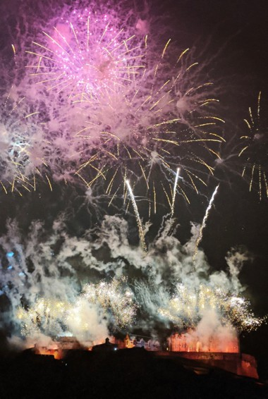 Fireworks in Edinburgh during Hogmanay