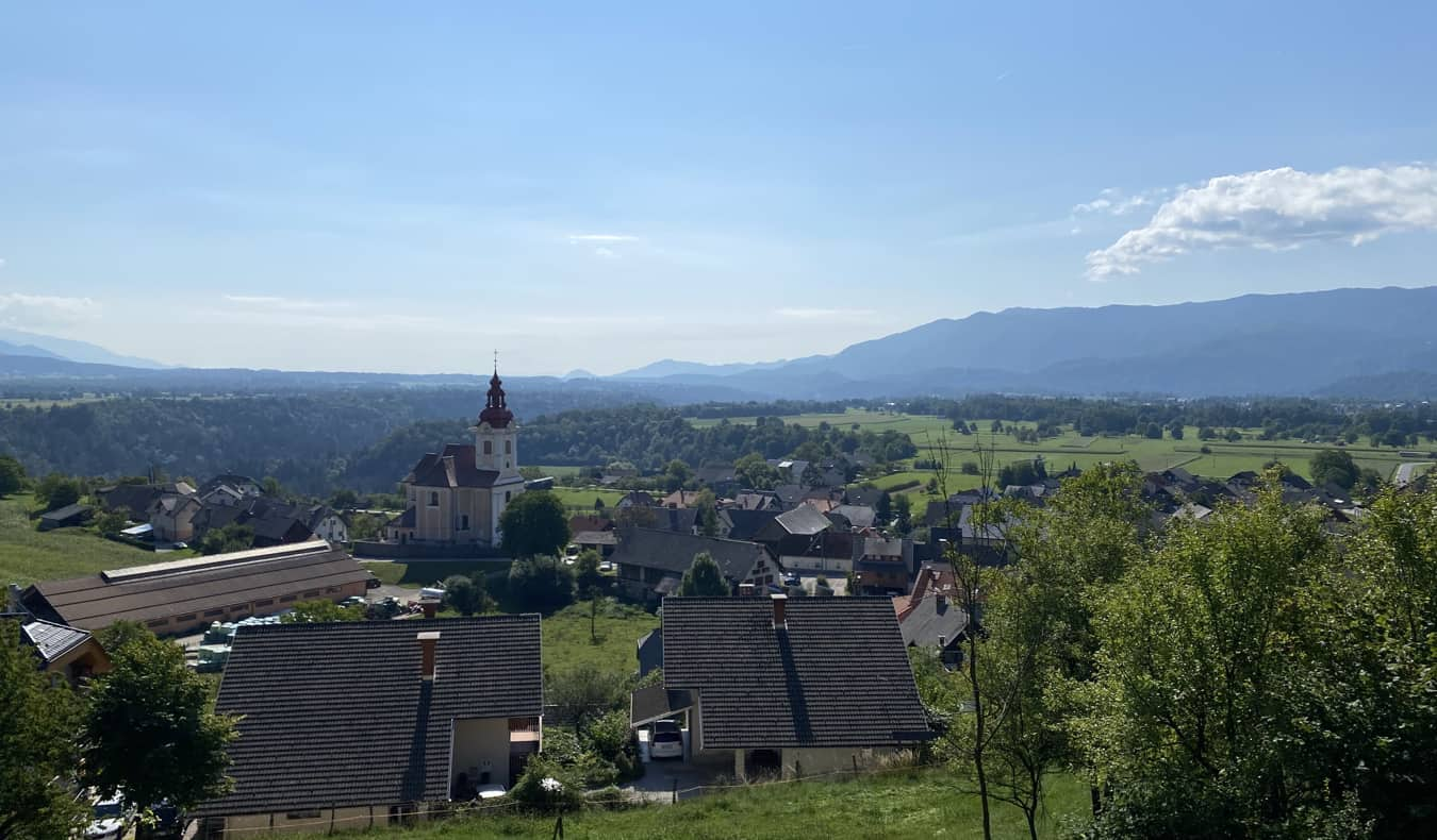 One of the many pastoral views of rural Slovenia on a sunny day