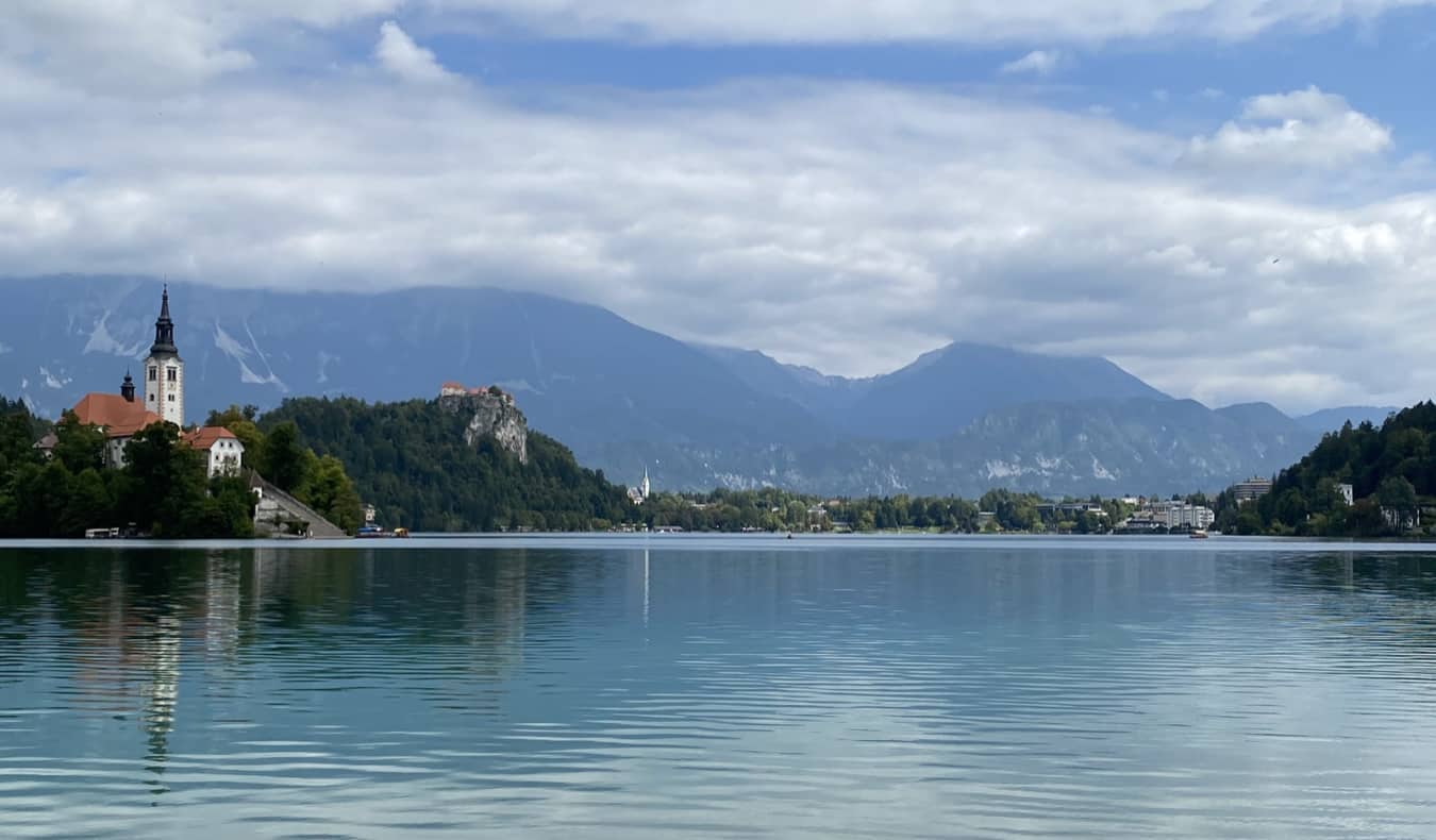 The iconic Lake Bled and its picturesque island in Slovenia