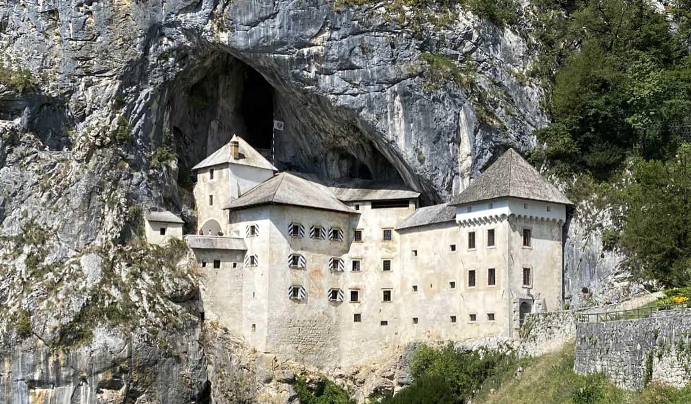 The historic Predjama Castle built into the rock in Slovenia