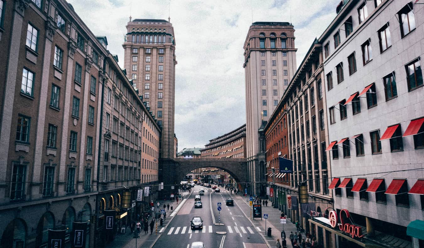 A busy shopping street in the Norrmalm district of Stockholm, Sweden