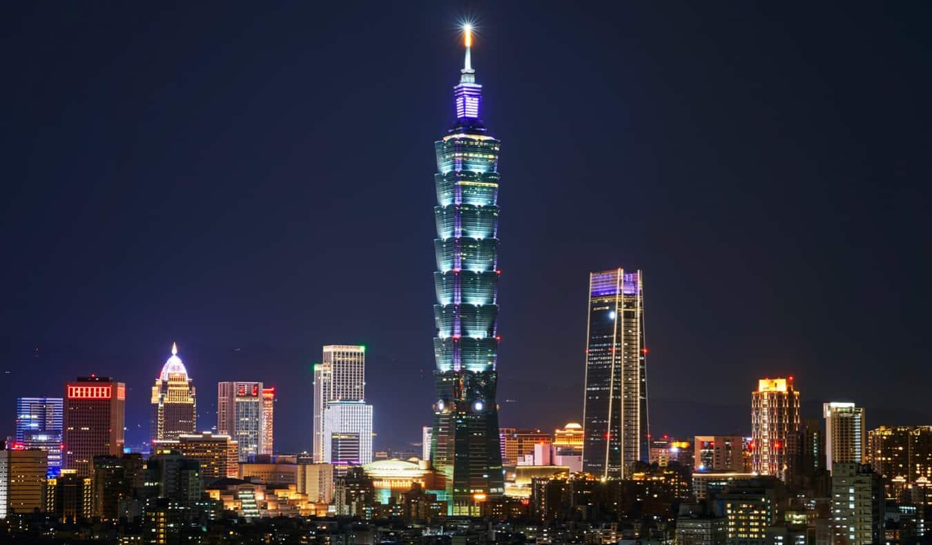 Taipei 101 in Taiwan at twilight