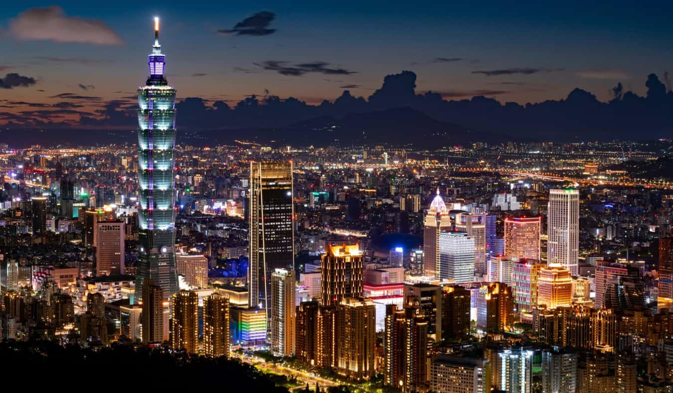 The towering skyline of Taipei, Taiwan featuring Taipei 101