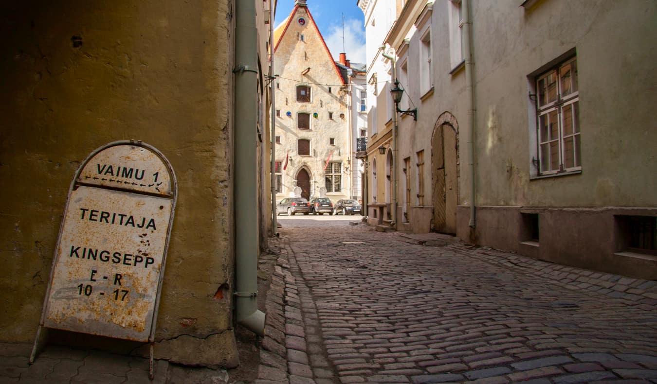 A winding alley in Tallinn, Estonia