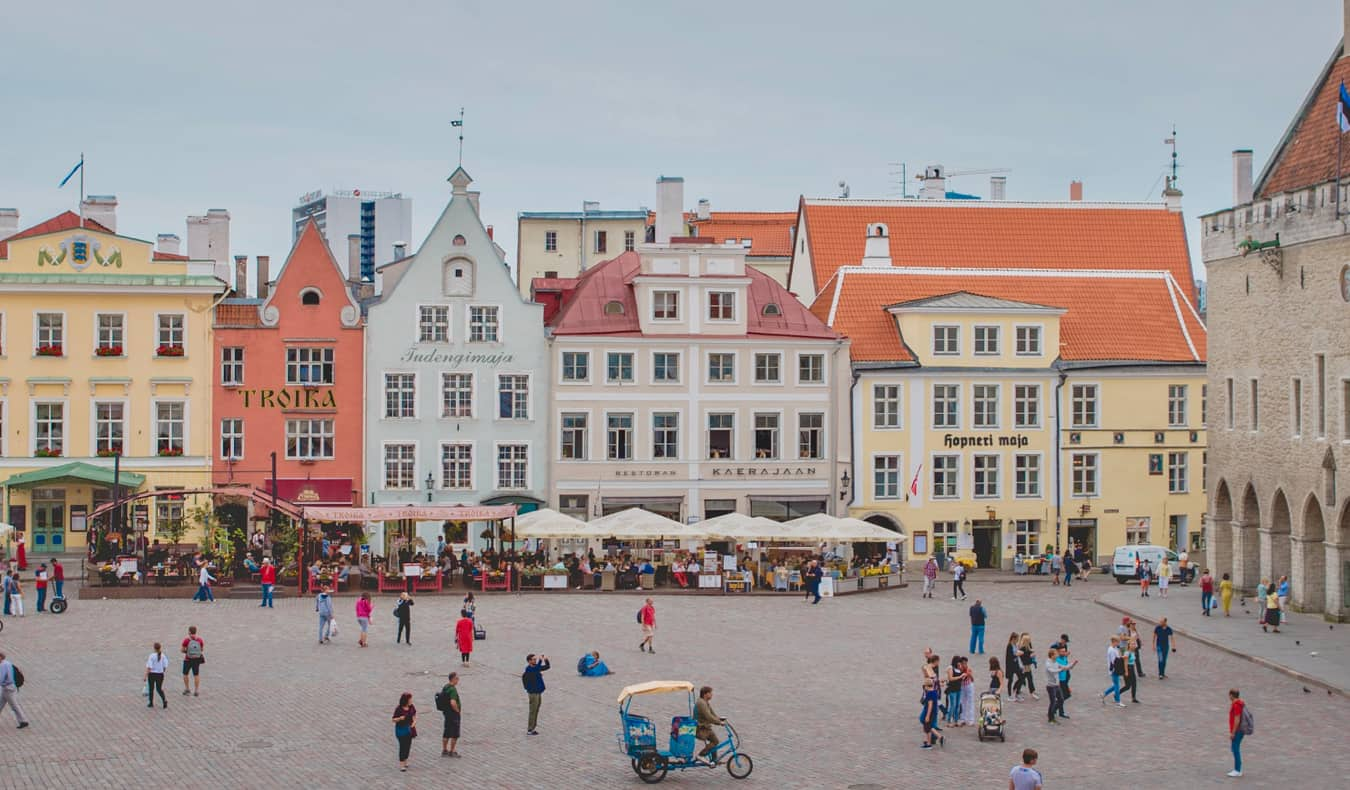 People shopping and relaxing in the Old Town of Tallinn, Estonia