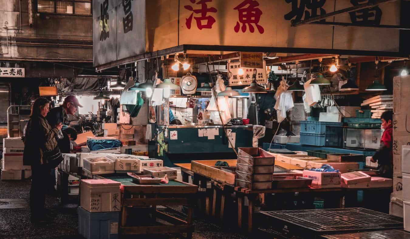 The massive fish market in Tokyo, Japan