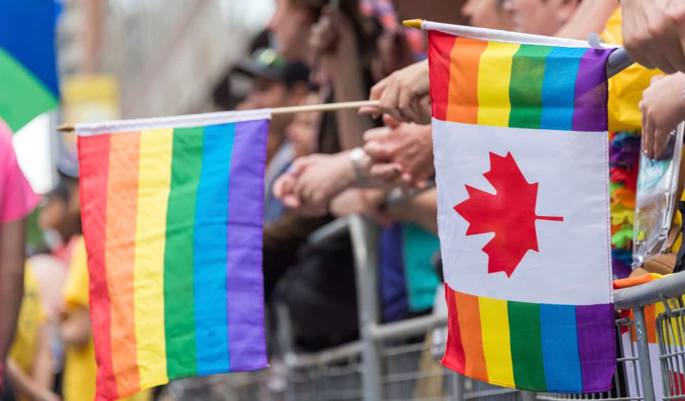 People celebrating Pride in Toronto, Canada