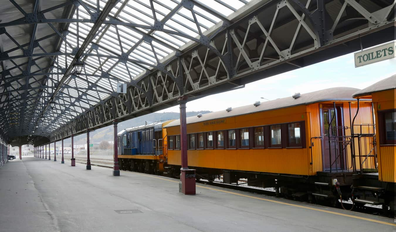 An old train in Dunedin, New Zealand parked at the station