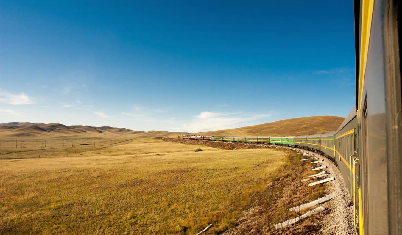 The Trans-Siberia Railway in Russia crossing the steppe