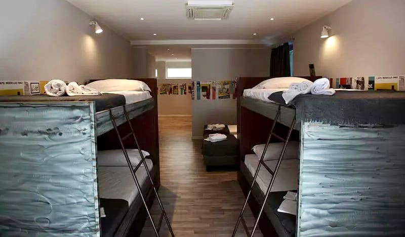 The cozy bunk beds in Hostel Trastevere in Rome, Italy