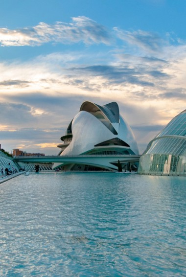 The massive City of Arts and Sciences building in Valencia, Spain