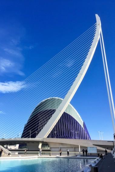 The towering, futuristic Calatrava Bridge in Valencia, Spain