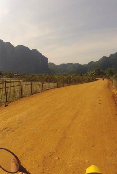 A dirt road for ATVing in Vang Vieng, Laos