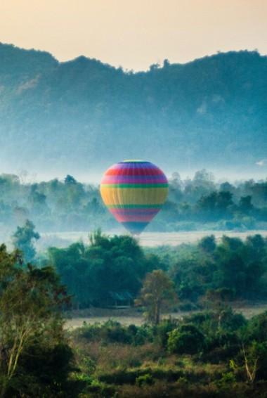 A hot air balloon in Vang Vieng, Laos