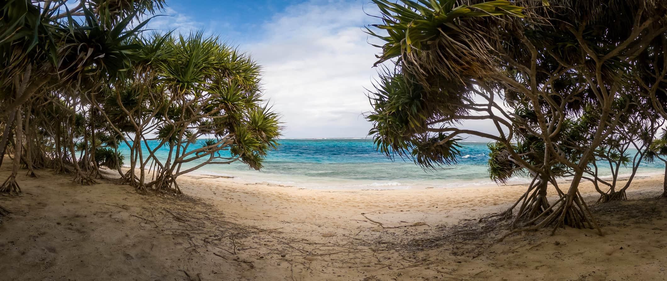 A sandy white beach in Vanuatu