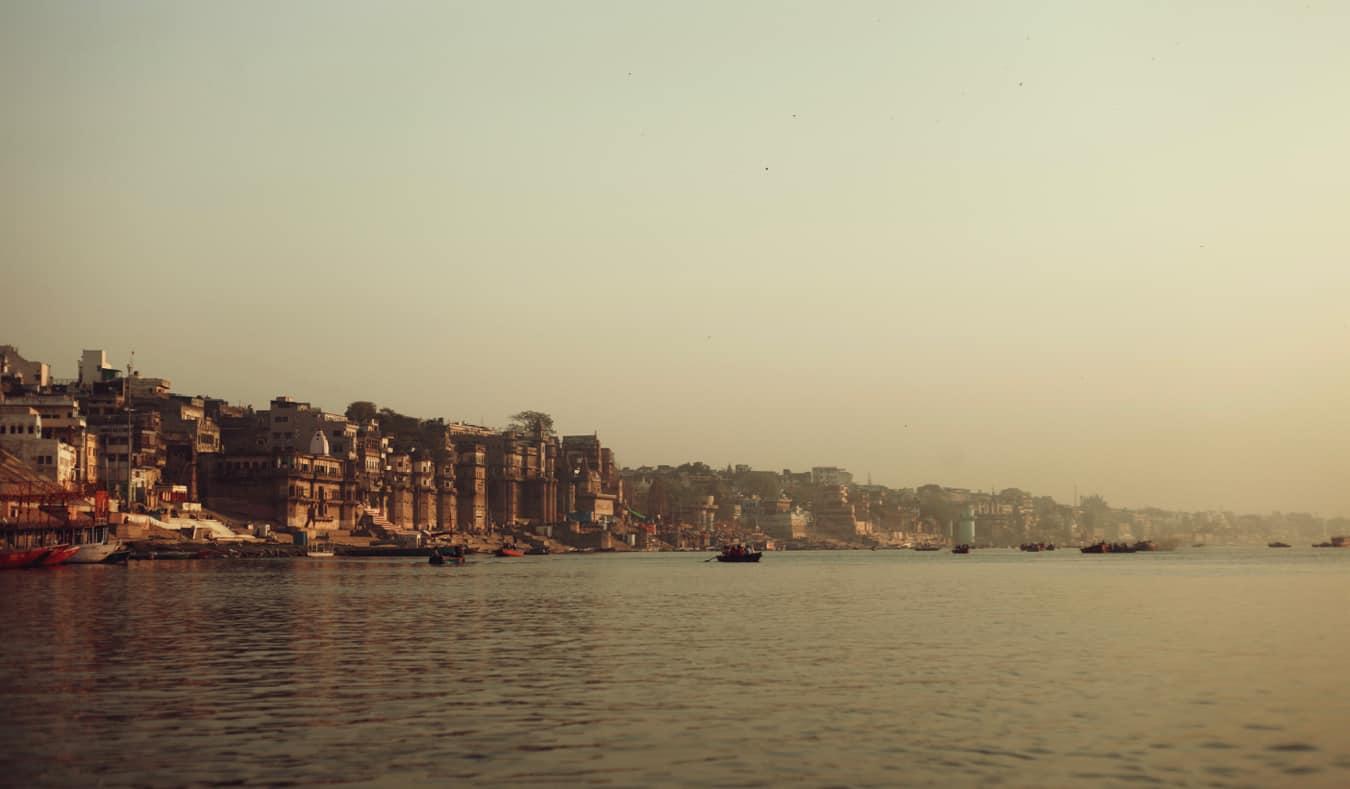 They busy shores of Varanasi, India