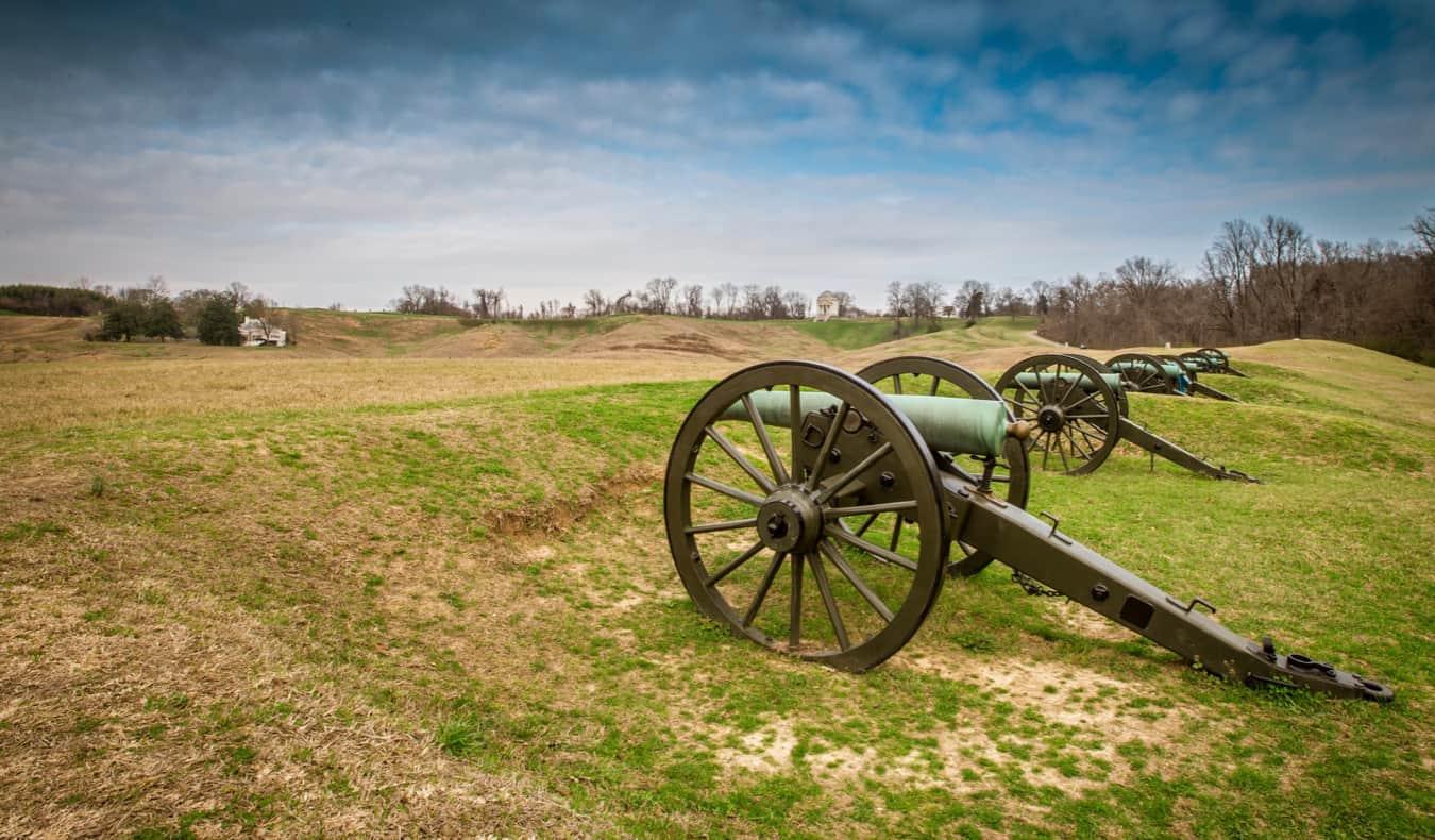 Old canons outside of Vicksburg, USA