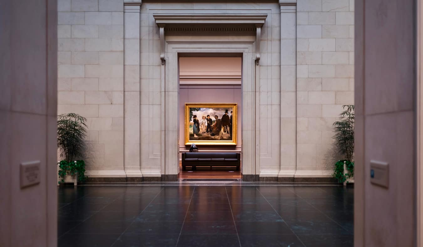 The interior of the National Gallery of Art in Washington, DC