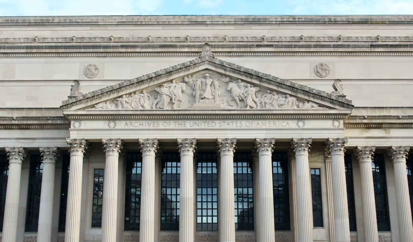 The exterior of the National Archives in Washington, DC