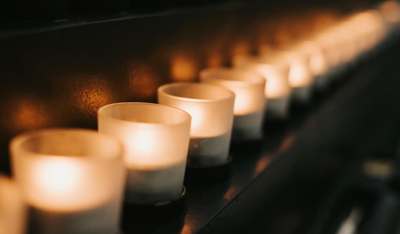 Candles inside the Holocaust Museum in Washington, DC