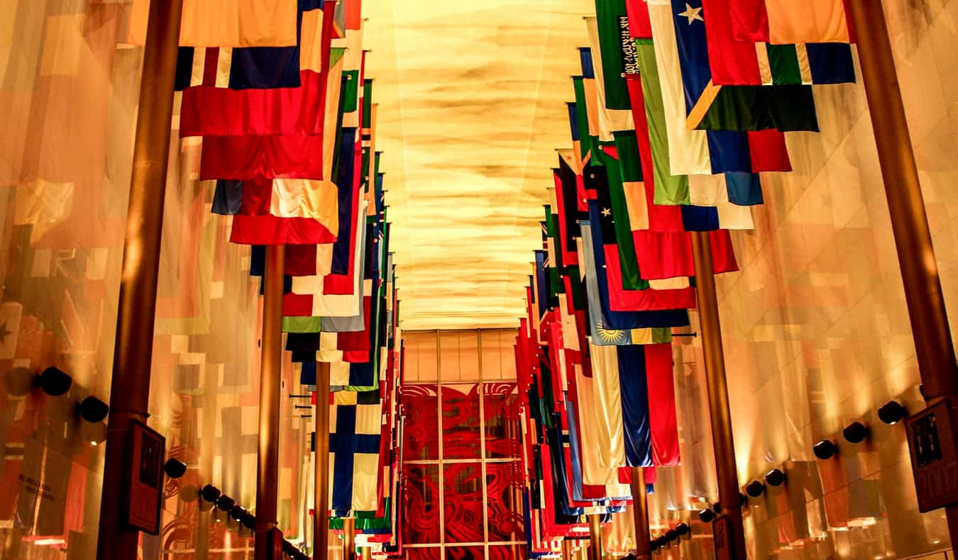Flags inside the JFK Performing Arts Center in Washington, DC