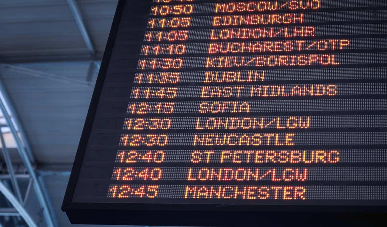 A destination signboard in an airport