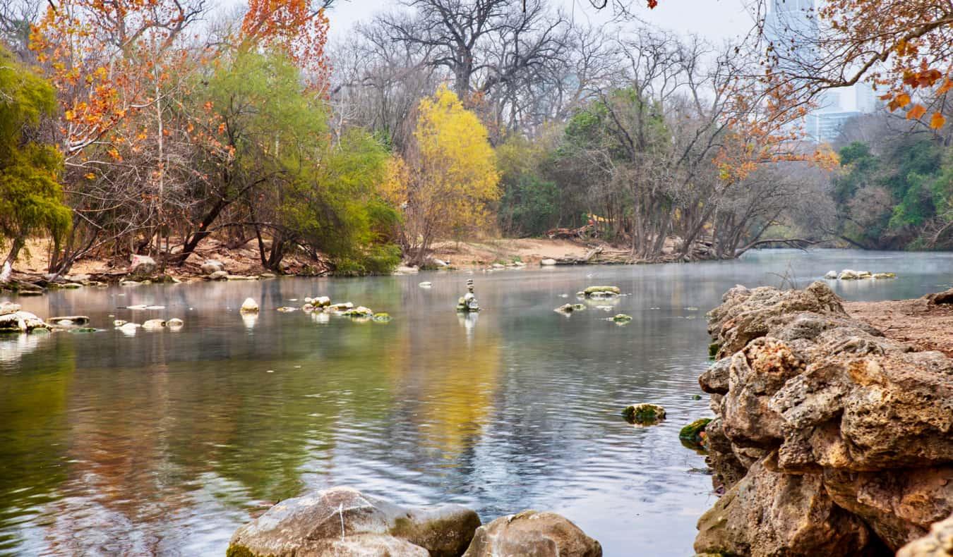 A small stream in Zilker Park in Austin, TX