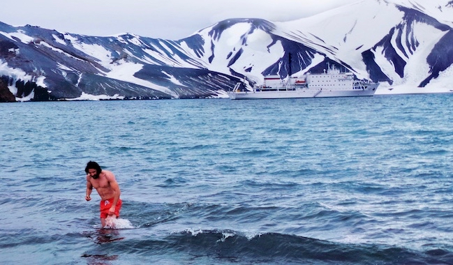 Jon Levy swimming in icy water