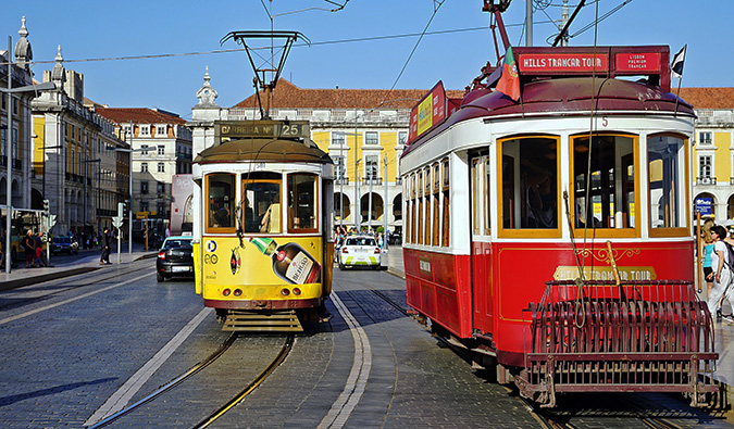 colorful trams in lisbon