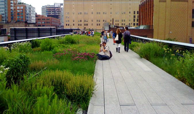 The High Line Park in the Meatpacking District in NYC
