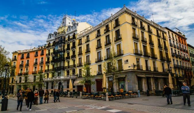 Madrid street view on the Gran Via