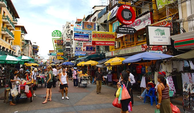 The infamous Khao San Road in Bangkok