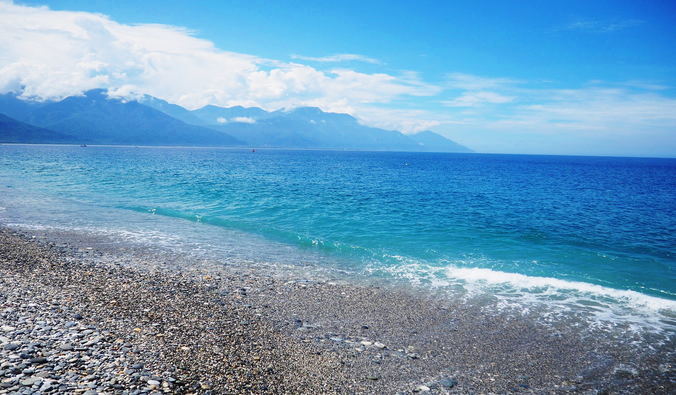 stone beach with blue waters in Taiwan